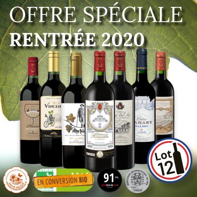 Offre promotionnelle de 12 bouteilles de vins rouges de Bordeaux, Blaye et Cahors